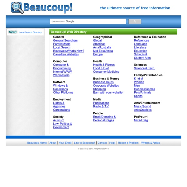 Beaucoup! 2,000+ Search Engines, Indices and Directories