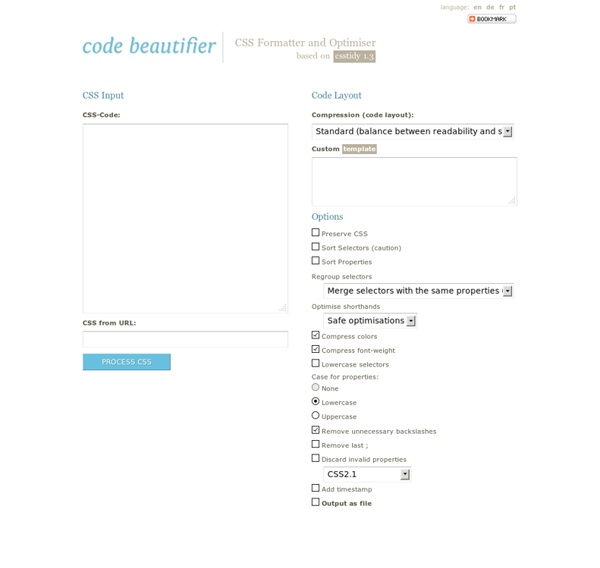 Code Beautifier: CSS Formatter and Optimiser