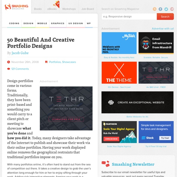 50 Beautiful And Creative Portfolio Designs | Pearltrees