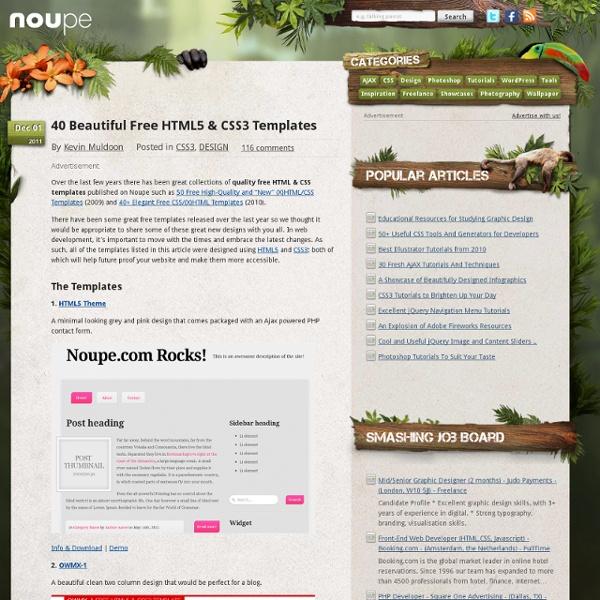 40 Beautiful Free HTML5 & CSS3 Templates
