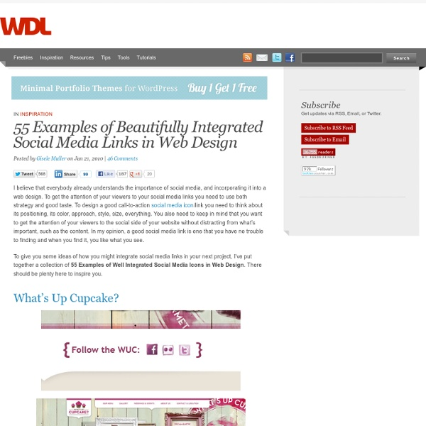 55 Examples of Beautifully Integrated Social Media Links in Web