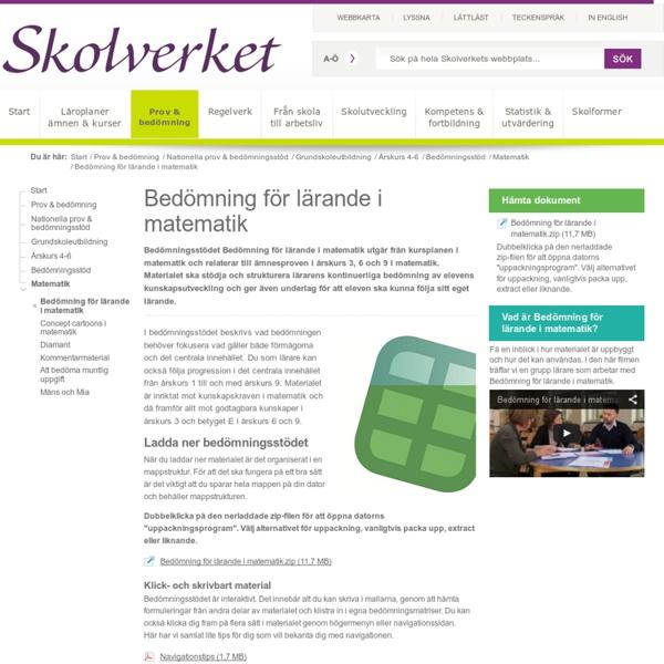 Bedömning för lärande i matematik - ett bedömningsstöd