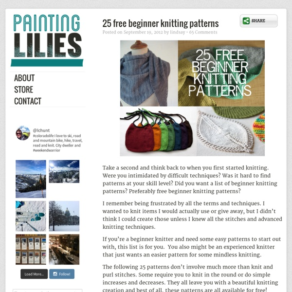 25 Free Beginner Knitting Patterns Pearltrees