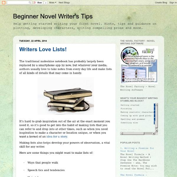 Beginner Novel Writer's Tips