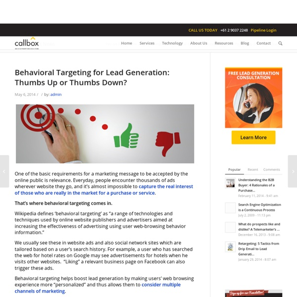 Behavioral Targeting for Lead Generation: Thumbs Up or Thumbs Down?