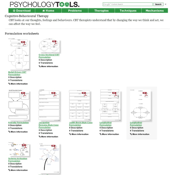 Cognitive Behavioural Therapy CBT Worksheets Handouts – Free Cbt Worksheets