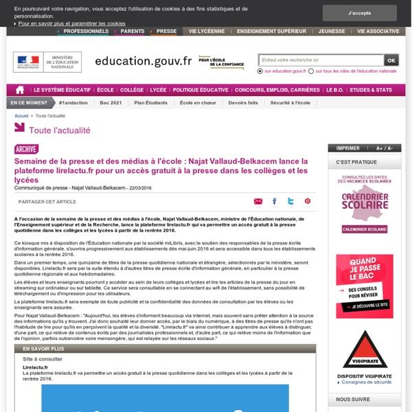 Najat Vallaud-Belkacem lance la plateforme Lirelactu.fr pour un accès gratuit à la presse dans le 2nd degré
