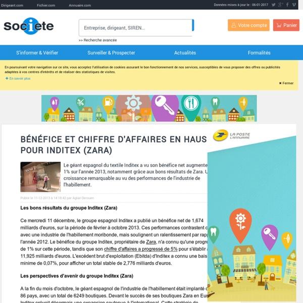 Bénéfice et chiffre d'affaires en hausse pour Inditex (Zara) - Publications Societe.com