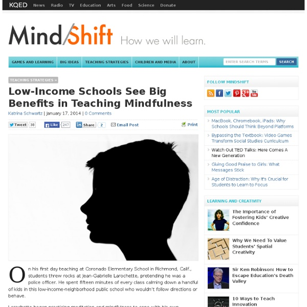 Low-Income Schools See Big Benefits in Teaching Mindfulness