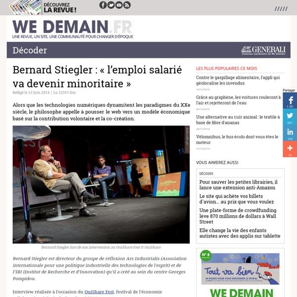 Bernard Stiegler : « l'emploi salarié va devenir minoritaire »