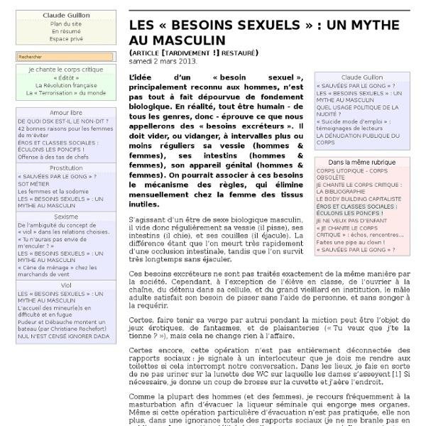 LES « BESOINS SEXUELS » : UN MYTHE AU MASCULIN