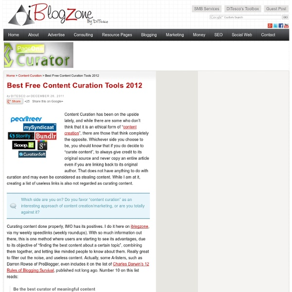 Best Free Content Curation Tools 2012