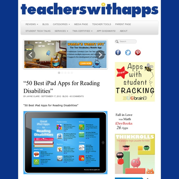 """50 Best iPad Apps for Reading Disabilities"""