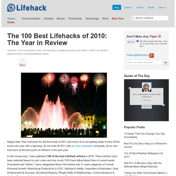 The 100 Best Lifehacks of 2010: The Year in Review