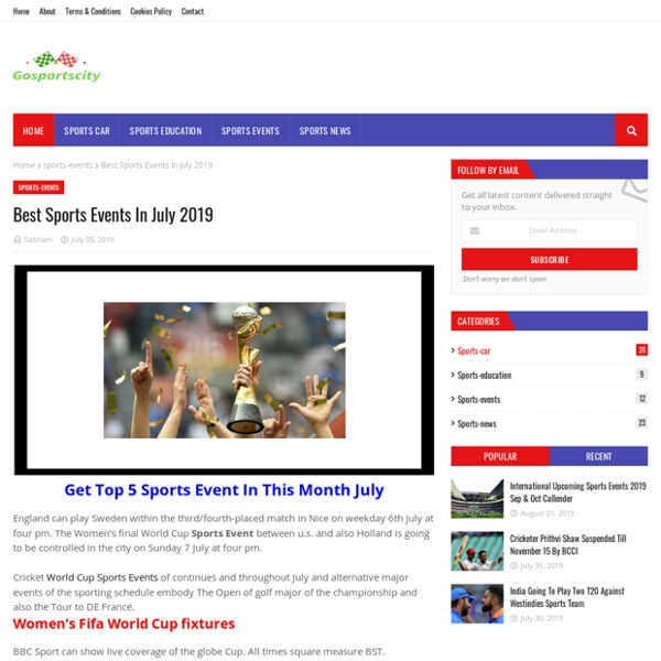 Best Sports Events In July 2019