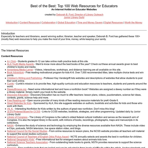 Not eliminated because embedded links work.Best of the Best: Top 100 Web Resources for Educators