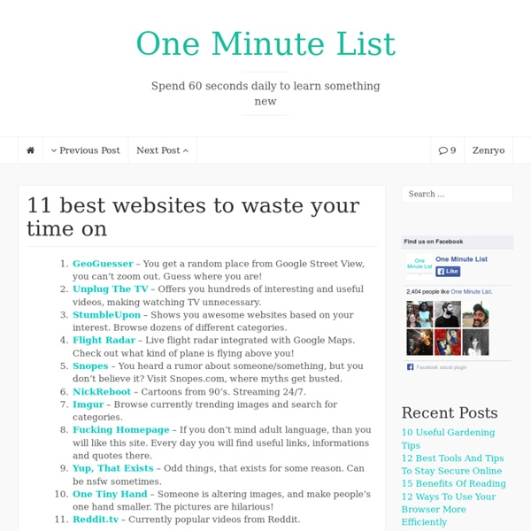 11 best websites to waste your time on - One Minute List