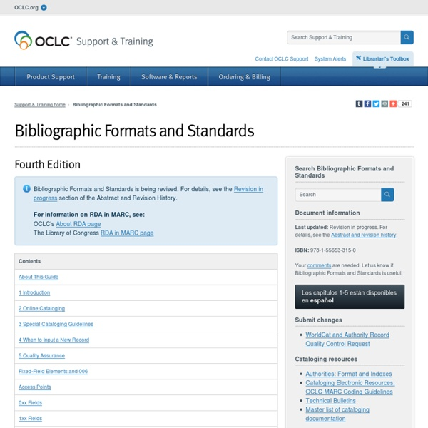 Bibliographic Formats and Standards