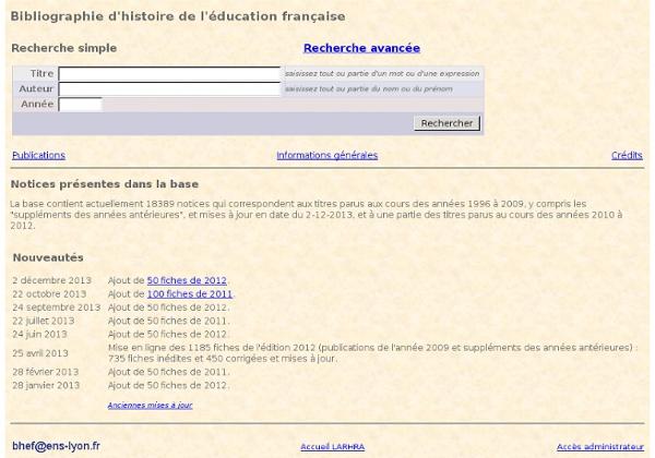 Bibliographie d'histoire de l'éducation française