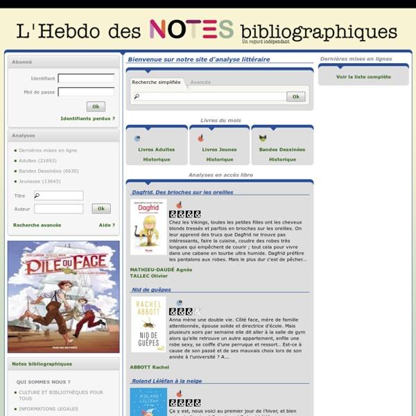 L'Hebdo des NOTES bibliographiques – Analyses littéraires de Bibliothèques Pour Tous