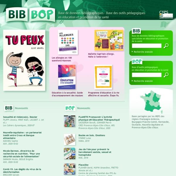 Bib-Bop, base de données bibliographiques - base des outils pédagogiques