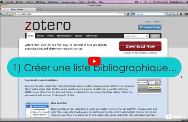 Zotero : Tutoriel n°4 : créer une liste bibliographique