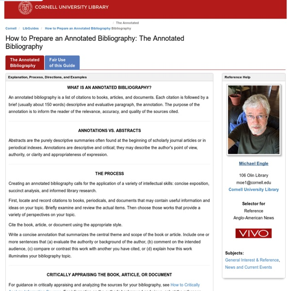 cornell university annotated bibliography tutorial
