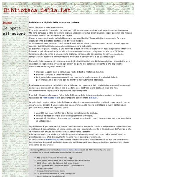 Biblioteca della Letteratura Italiana