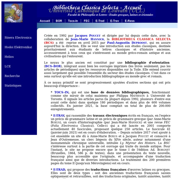 Bibliotheca Classica Selecta - Accueil