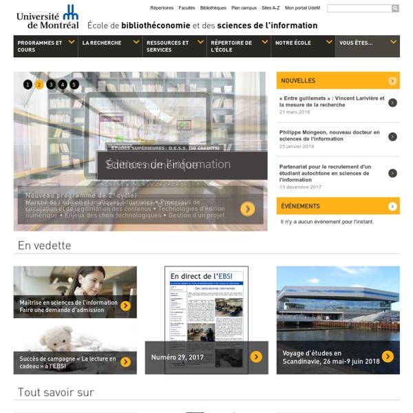 École de bibliothéconomie et des sciences de l'information - Accueil