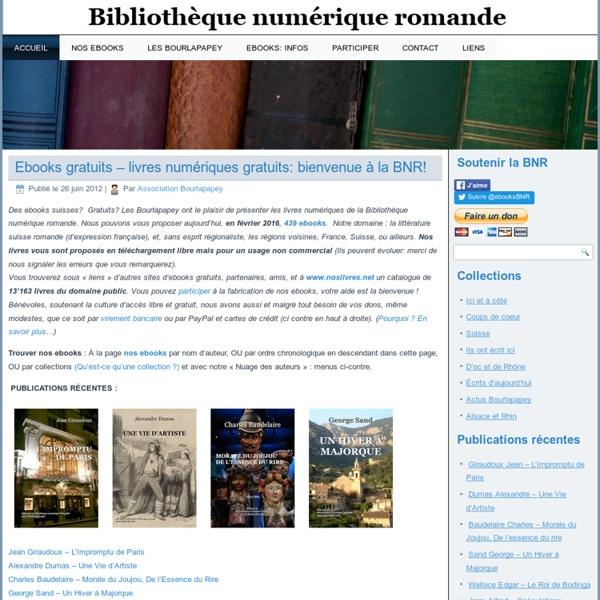 Bibliothèque numérique romande - Les ebooks gratuits de l'association Les Bourlapapey