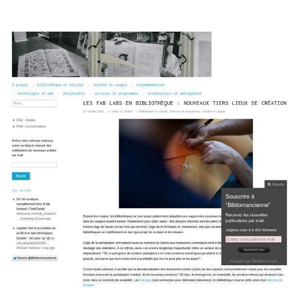 Les Fab labs en bibliothèque : nouveaux tiers lieux de création