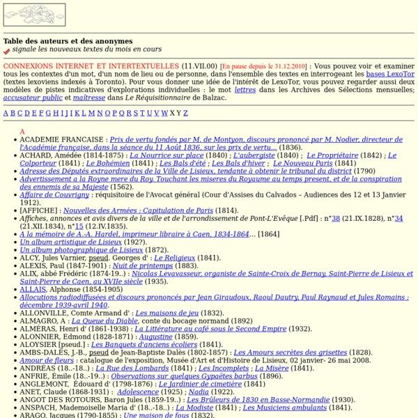 Table-sommaire des auteurs de la bibliothèque électronique de Lisieux