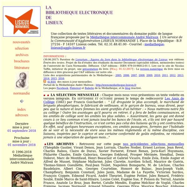 BIBLIOTHEQUE ELECTRONIQUE DE LISIEUX