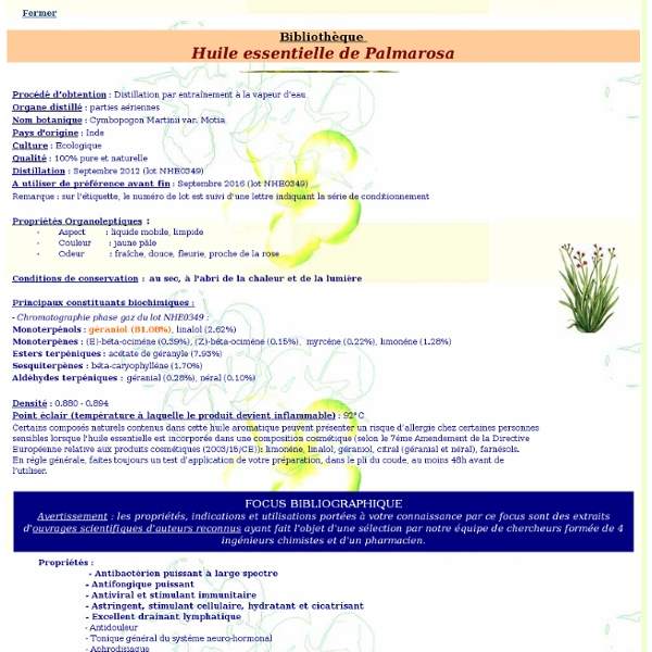 Fiche bibliothèque technique huile essentielle de Palmarosa - Cymbopogon martinii