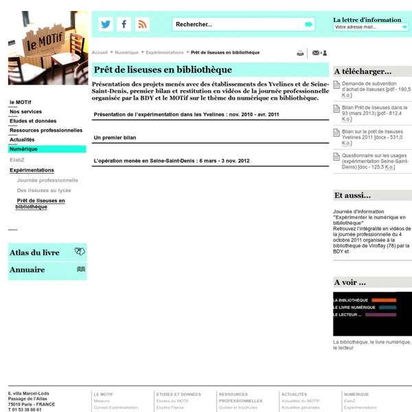 Prêt de liseuses en bibliothèque - Expérimentations - Numérique