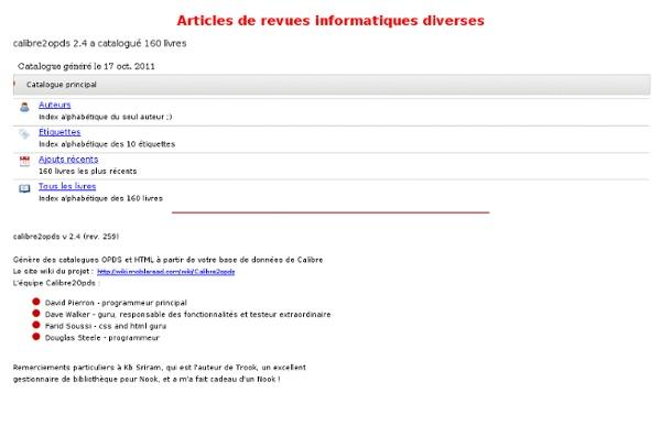 Articles de revues informatiques diverses