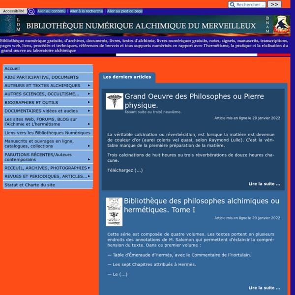 Bibliothèque numérique alchimique du Merveilleux (BNAM)