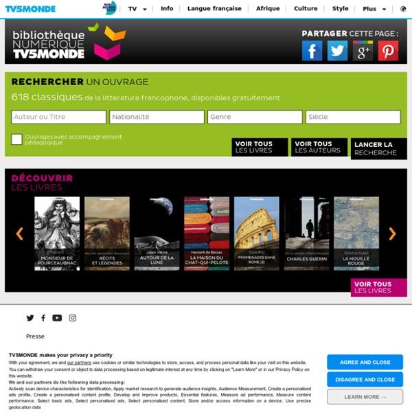 572 classiques de la littérature francophone de la Bibliothèque numérique TV5MONDE