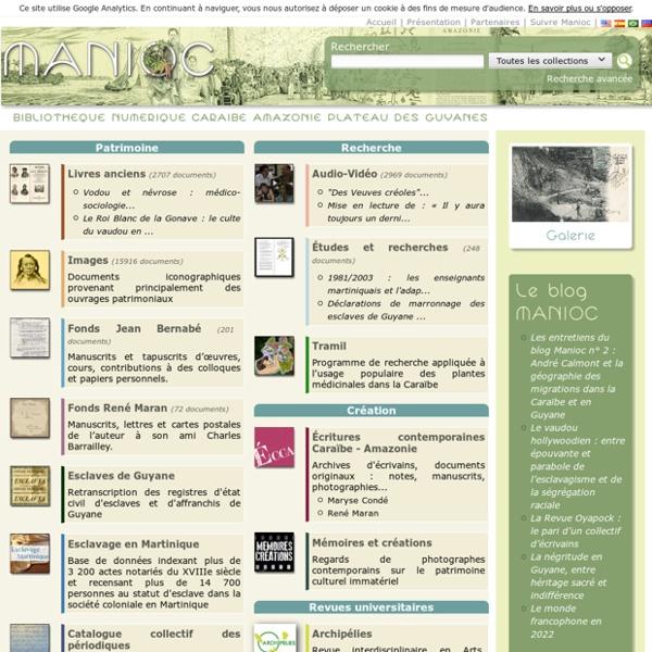 Manioc : bibliothèque numérique Caraïbe, Amazonie, plateau des Guyanes