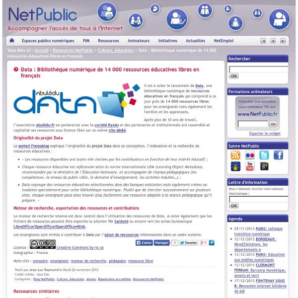 Data : Bibliothèque numérique de 14 000 ressources éducatives libres en français
