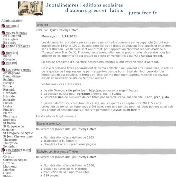 Bibliothèque de textes classiques grecs et latins
