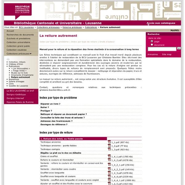 BCU Lausanne -Reliure autrement
