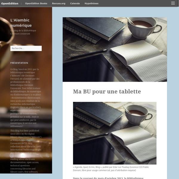 L'Alambic numérique – Un blog de la Bibliothèque Clermont Université