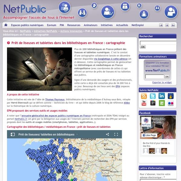 Prêt de liseuses et tablettes dans les bibliothèques en France : cartographie