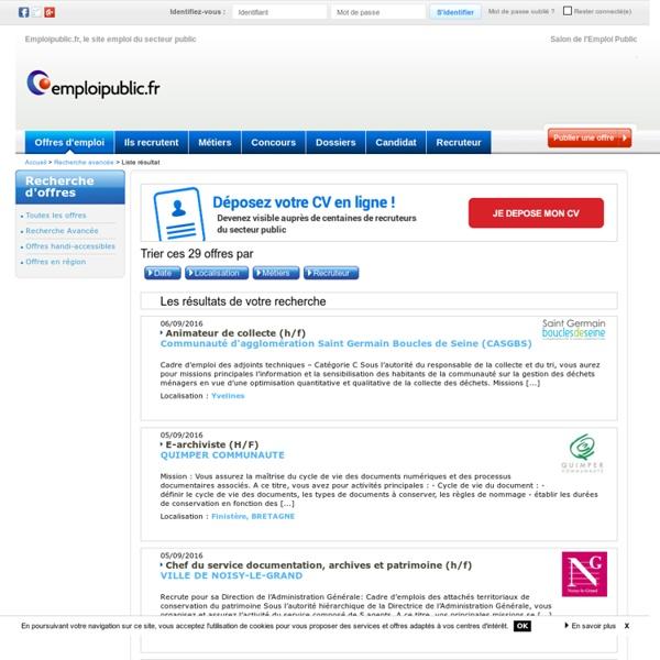 Offre emploi Bibliothèques, centres documentaires - page 1