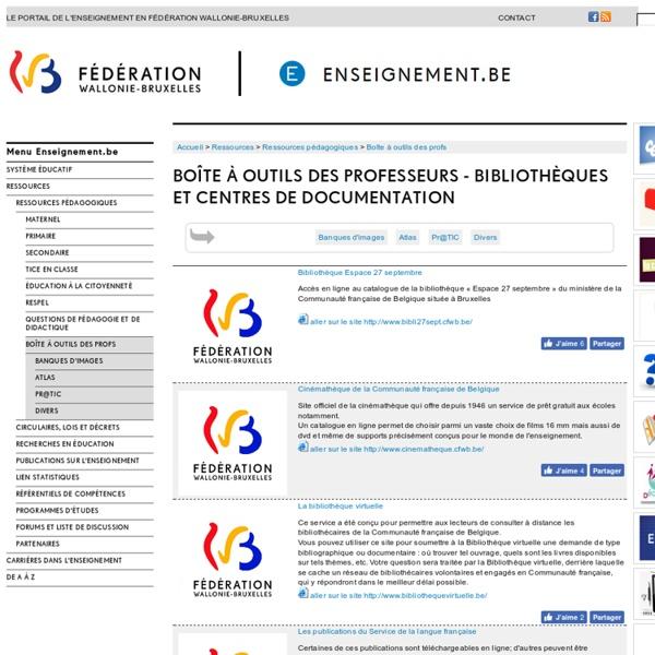 Boîte à outils des professeurs - bibliothèques et centres de documentation