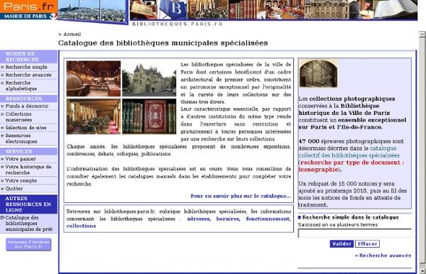 Catalogue des bibliothèques municipales spécialisées de Paris
