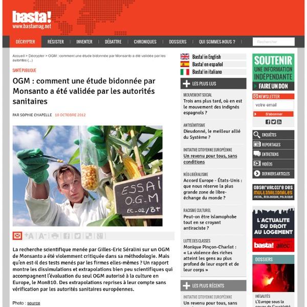 OGM : comment une étude bidonnée par Monsanto a été validée par les autorités sanitaires - Santé publique