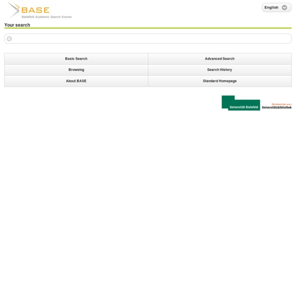 BASE (Bielefeld Academic Search Engine): Basic Search